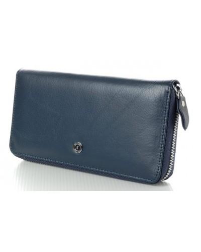 Женский кожаный кошелек клатч на молнии Boston Цвет синий