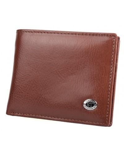 Мужской кожаный кошелек с зажимом ST на магните