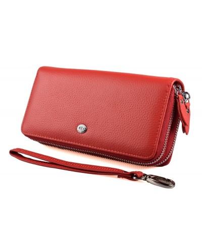 Женский кожаный кошелек клатч ST на две молнии