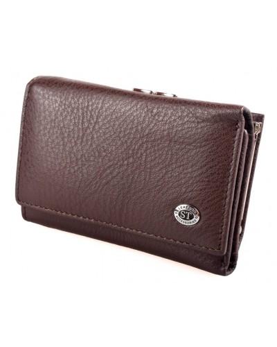 Женский кожаный кошелек ST складной цвет коричневый