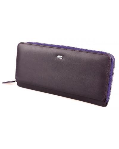 Женский кожаный кошелек ST на молнии с визитницей фиолетовый