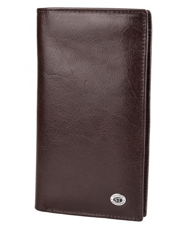 Мужской кожаный кошелек ST коричневый