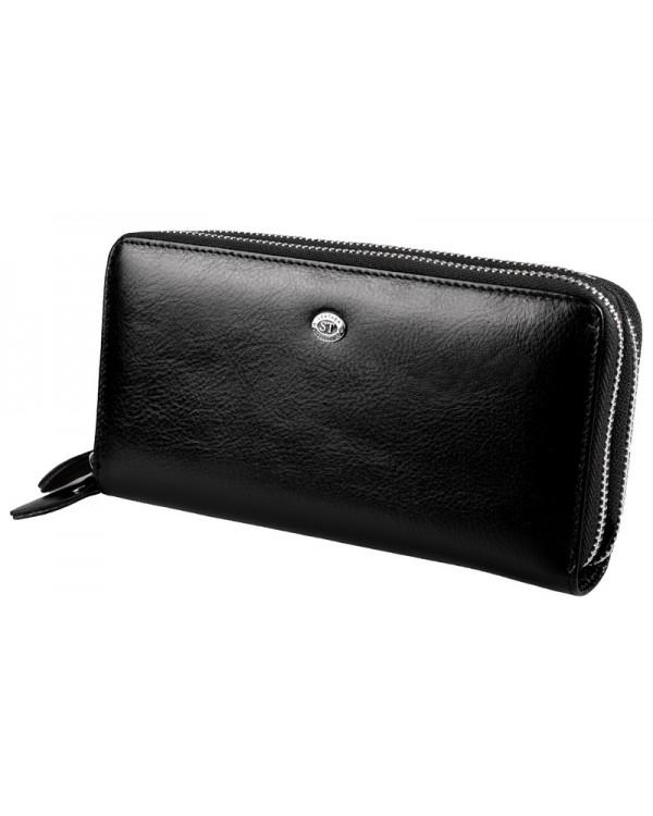 Мужской кожаный клатч кошелек на две молнии ST