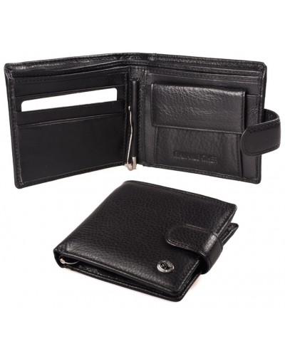 Мужской кожаный кошелек портмоне ST с зажимом для купюр