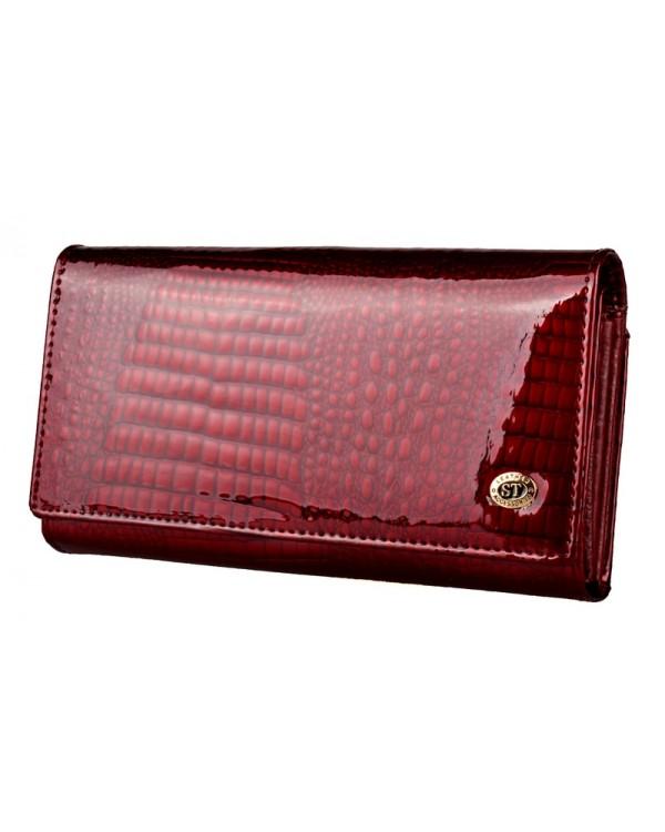 Женский кожаный кошелек ST с визитницей лаковый