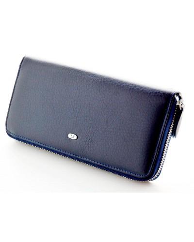 Женский кожаный кошелек клатч на молнии ST Цвет синий